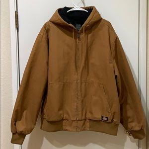 Dickies Brown Zipped Up Hooded Coat Size XL